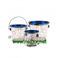Quality custom Logo printing cone shape clear PVC bucket PVC pail with opener,tapered plastic pail for sale