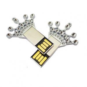 Quality Rhinestone Studded USB Flash Drive With Logo Printed Creative Crown Design for sale