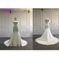 Quality Satin Embroidery A Line Ball Gown Wedding Dress With Lace Taffeta Short Sleeves for sale