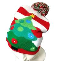 Buy 6- Panel Promotional Products Caps , Mix Design Knitted Flashing LED Christmas at wholesale prices