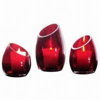 Best Set of 3 Sizes Votive Glass Candle Holder in Red Color wholesale