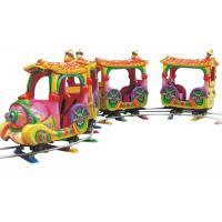 Quality Electric Outdoor Amusement Train Rides , Cartoon 14 Seats Mini Track Train for sale