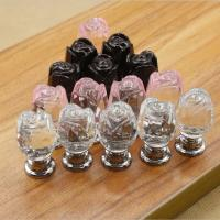 China Flower Style Crystal Door Knobs Drawer Pulls Furniture Handles on sale