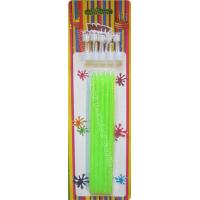 Best Tall Slender Glitter Birthday Candles 10 White Holders Fluorescent Green wholesale