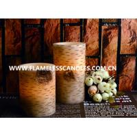 China Birch Finish Straight Edge Flameless LED Pillar Candles / Battery Operated LED Candle on sale
