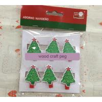 China Christmas gift wood Pegs Pack of 6 Wood Craft Clothespins Christmas tree on sale