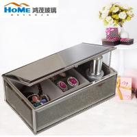 Quality Personalised Mirrored Glass Jewellery Box / Glass Jewelry Case Organizer 192*116*67MM for sale