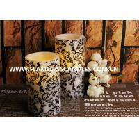 Best Home Decoration Flameless LED Pillar Candles With White Floral Pattern 7.5 x 15cm wholesale