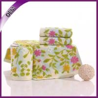 Quality yarn dyed jacquard cotton towels with flower from china supplier for sale