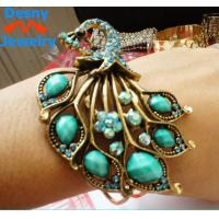 Best Beautiful restro crystal blue peacock bangles bracelets metal casting jewelry wholesale