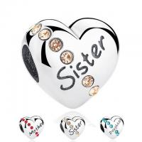 Quality Family Gift Heart Shaped Sterling Silver Charm Beads For Snake Chain Bracelets for sale