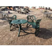 Quality Outside Wrought Iron Table And Chairs Antique Green Butterfly Style for sale