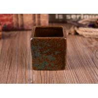 Best Square Copper Rust Decoration Ceramic Candle Container Set for Soy Wax wholesale