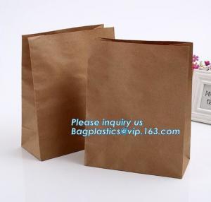 Quality nature brown Kraft bread packaging paper bags,Brand paper bag machine making paper bag paper bread bag, BAGPLASTICS, LTD for sale