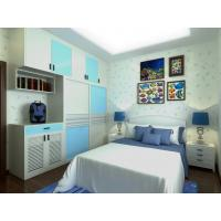 Best Home White / Light Blue Bedroom Closets And Wardrobes Hinged Door With Mirror wholesale
