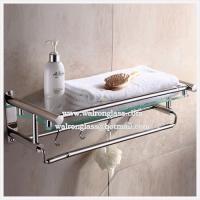 Quality Irregular Shape Bathroom Single Shelf with 6mm Clear Tempered/Toughened Glass for sale