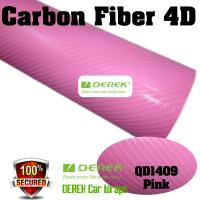 Quality 4D Glossy & Shiney Carbon Fiber Vinyl Wrapping Films--Pink for sale