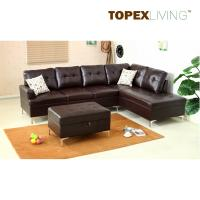 Quality Sectional Sofa Leather Brown with Cushions,Stylish sofas with Chaise,Ottoman table with storage,Modern Sofa  Metal legs. for sale