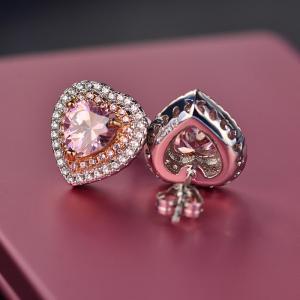 China Best Designs Luxury Wedding Zircon Jewelry Cubic Zirconia Diamond Earrings Pink Heart Stud Bridal Earrings on sale