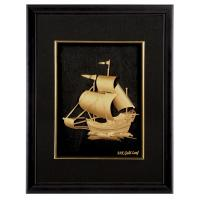 Realistic 3D gold foil music Sailing frame / gold foil crafts home decoration