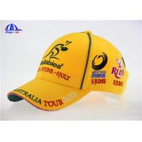 Quality Woven Sandwich Embroidery / Embroidered Baseball Caps Yellow Bright Color for Summer for sale