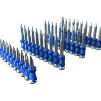 Quality 2.7mm*25mm Plastic Blue Strip Concrete Nails pins , Smooth Shank Flat Head Nails for sale