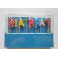 China Multi Colour Happy Birthday Toothpick Letter Cake Candles Stick Shape With Polka Dots on sale