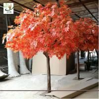 Buy cheap UVG romantic artificial red maple tree in silk leaves and wood trunk for indoor home decorative GRE070 from wholesalers