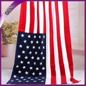Quality high quality wholesale 100% cotton custom flag beach towel for sale