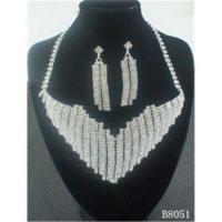 Quality European Standard Silver Jewelry Crystal Necklace and Earring Set for Party OEM for sale
