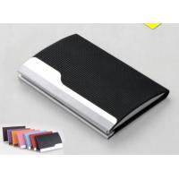 China PU Leather Cover On Metal Frame Business Card Holder With Classic Design on sale