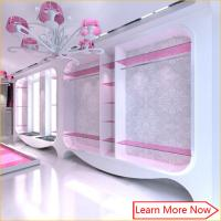 China Modern fashion pink white wall mounted clothing display cabinet with S/S rack on sale