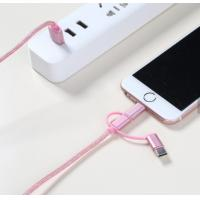 China 3 In 1 USB Smart Phone Cable Nylon Jacket Universal Standard Connector on sale