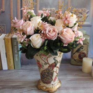 China UVG Fake Pink Rose Flower Valentine Day Gift Fake Satin Ribbon Handmade Flowers on sale