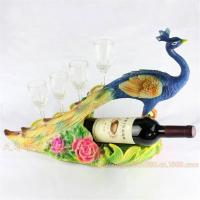 Buy cheap Resin Peacock Peafowl Crafts Wine Holder Shelf with Wine Glass for Home Decoration or as Gifts from wholesalers