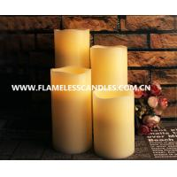 China Modern Straight Edge LED Flameless Candle , Flickering White LED Pillar Candles on sale