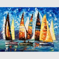 Buy cheap Abstract Sailing Ship Oil Painting by palette knife / Hand Painted Thick Oil from wholesalers