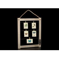 China Rustic Wall Deco Wooden Picture Frame With Clips And Rope In Antique Brown on sale