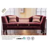 China Wine Red Fabric Velvet Hotel Lobby Sofa Three Seat Classical In Fabric Upholstered on sale