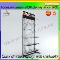 China Metal retail wire grid display rack with baskets on sale