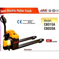 Buy cheap Red / Yellow Semi Electric Pallet Truck 2 Tons Capacity High Gradient Performanc from wholesalers