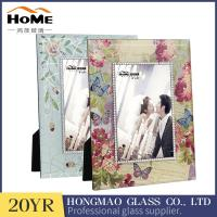 Quality Rectangle Standing Glass Wedding Photo Frames Vintage Style Wear Resistance for sale