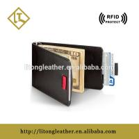China China supplier custom Leather RFID Blocking pull tap card holder in good quality on sale