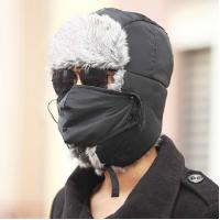 Buy cheap Blue / Grey Warm Hat With Ear Flaps , Fox Fur Outdoor Winter Hats For Men from wholesalers