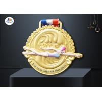 Three Dimensional 70mm 3mm Zinc Alloy Swimming Medals for sale