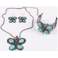 China Turquoise jewelry set fashion personality three butterfly earrings necklaces bracelets on sale