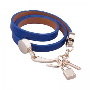 Ladies Leather Charm Bracelets , Lock And Key Jewelry Wrap Bracelets For Women
