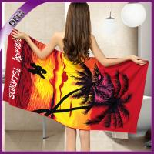 Quality 70*150cm lover printing towel custom microfiber printed bath towel for sale