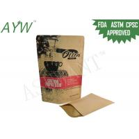 China Durable Biodegradable Stand Up Pouches With Zipper , Resealable Kraft Paper Bags For Raw Drip Coffee on sale