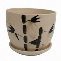 Best Ceramic Flower Pot with Bamboo Painting, Home Decoration, OEM Orders are Welcome wholesale
